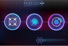 Αφηρημένο υπόβαθρο με τα διαφορετικά στοιχεία του hud Στοιχεία Hud επίσης corel σύρετε το διάνυσμα απεικόνισης Head-up στοιχεία ε Στοκ Εικόνες