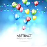 Αφηρημένο υπόβαθρο με τα λάμποντας ζωηρόχρωμα μπαλόνια με Bokeh Ε στοκ φωτογραφία