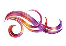 Αφηρημένο υπόβαθρο με τα φανταστικά κύματα χρώματος και τους floral κυλίνδρους Σύγχρονη ζωηρόχρωμη αφίσα ροής Υγρή μορφή κυμάτων  διανυσματική απεικόνιση