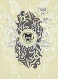 Αφηρημένο υπόβαθρο με τα φυλετικούς κεφάλια και τους παφλασμούς λιονταριών Στοκ Εικόνα