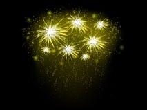 Αφηρημένο υπόβαθρο με τα χρυσά πυροτεχνήματα Στοκ Εικόνα