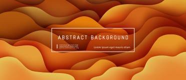 Αφηρημένο υπόβαθρο με την εκφραστική πορτοκαλιά, καφετιά ροή κινήσεων κυμάτων και την υγρή σύνθεση μορφών διανυσματική απεικόνιση