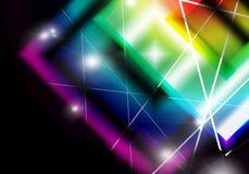 Αφηρημένο υπόβαθρο με την τετραγωνική ζωηρόχρωμη φλόγα κρυστάλλου και blan Στοκ Εικόνες
