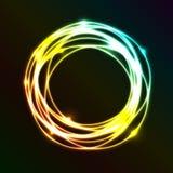 Αφηρημένο υπόβαθρο με τη ζωηρόχρωμη επίδραση κύκλων πλάσματος Στοκ Εικόνες