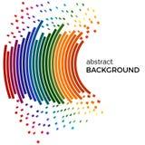 Αφηρημένο υπόβαθρο με τις ζωηρόχρωμα γραμμές ουράνιων τόξων και τα κομμάτια πετάγματος Χρωματισμένοι κύκλοι με τη θέση για το κεί Στοκ εικόνα με δικαίωμα ελεύθερης χρήσης