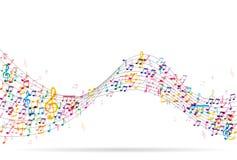 Αφηρημένο υπόβαθρο με τις ζωηρόχρωμες σημειώσεις μουσικής Στοκ εικόνες με δικαίωμα ελεύθερης χρήσης