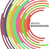 Αφηρημένο υπόβαθρο με τις φωτεινές ζωηρόχρωμες γραμμές ουράνιων τόξων Χρωματισμένοι κύκλοι με τη θέση για το κείμενό σας διανυσματική απεικόνιση