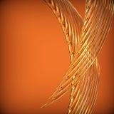 Αφηρημένο υπόβαθρο με τις χρυσές κυματιστές στριμμένες κορδέλλες. Στοκ Εικόνες