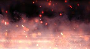 Αφηρημένο υπόβαθρο με τον καπνό και τους σπινθήρες, φως νέου στοκ φωτογραφίες με δικαίωμα ελεύθερης χρήσης