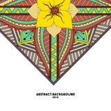 Αφηρημένο υπόβαθρο με το λουλούδι και τα γεωμετρικά στοιχεία Στοκ Φωτογραφίες
