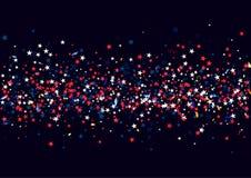 Αφηρημένο υπόβαθρο με το πετώντας κόκκινο μπλε ασημένιο κομφετί αστεριών που απομονώνεται Κενό εορταστικό πρότυπο για τις αμερικα Στοκ Εικόνα