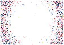 Αφηρημένο υπόβαθρο με το πετώντας κόκκινο μπλε ασημένιο κομφετί αστεριών που απομονώνεται Κενό εορταστικό πρότυπο για τις αμερικα Στοκ φωτογραφίες με δικαίωμα ελεύθερης χρήσης