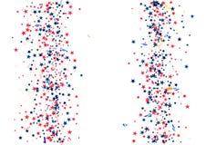 Αφηρημένο υπόβαθρο με το πετώντας κόκκινο μπλε ασημένιο κομφετί αστεριών που απομονώνεται Κενό εορταστικό πρότυπο για τις αμερικα Στοκ Εικόνες
