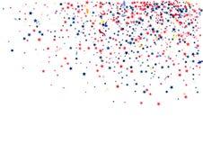 Αφηρημένο υπόβαθρο με το πετώντας κόκκινο μπλε ασημένιο κομφετί αστεριών που απομονώνεται Κενό εορταστικό πρότυπο για τις αμερικα Στοκ εικόνα με δικαίωμα ελεύθερης χρήσης
