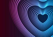 Αφηρημένο υπόβαθρο μορφής καρδιών λέιζερ νέου καμμένος ελεύθερη απεικόνιση δικαιώματος