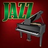 Αφηρημένο υπόβαθρο μουσικής grunge με τη λέξη Jazz και το μεγάλο πιάνο Στοκ Φωτογραφία