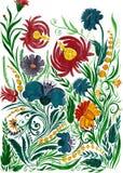 Αφηρημένο υπόβαθρο λουλουδιών, watercolor που επισύρει την προσοχή σε χαρτί Στοκ Εικόνα