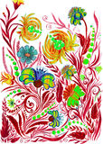 Αφηρημένο υπόβαθρο λουλουδιών, watercolor που επισύρει την προσοχή σε χαρτί Στοκ εικόνες με δικαίωμα ελεύθερης χρήσης