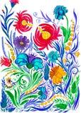 Αφηρημένο υπόβαθρο λουλουδιών, watercolor που επισύρει την προσοχή σε χαρτί Στοκ Φωτογραφία