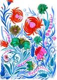 Αφηρημένο υπόβαθρο λουλουδιών, watercolor που επισύρει την προσοχή σε χαρτί Στοκ Εικόνες