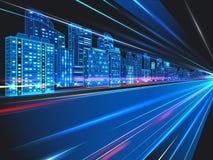 Αφηρημένο υπόβαθρο πόλεων νύχτας με τα ελαφριά ίχνη επίσης corel σύρετε το διάνυσμα απεικόνισης ελεύθερη απεικόνιση δικαιώματος