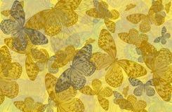 Αφηρημένο υπόβαθρο τέχνης των πεταλούδων σε κίτρινο Στοκ Εικόνες