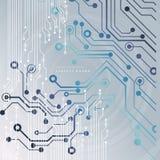 Αφηρημένο υπόβαθρο τεχνολογίας με τα διάφορα τεχνολογικά στοιχεία επίσης corel σύρετε το διάνυσμα απεικόνισης Στοκ Εικόνες