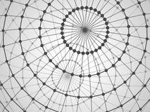Αφηρημένο υπόβαθρο τεχνολογίας με τη σφαίρα δικτυωτού πλέγματος Στοκ Φωτογραφία