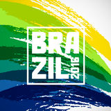 Αφηρημένο υπόβαθρο της Βραζιλίας με τα κτυπήματα χρωμάτων grunge στο χρώμα της σημαίας Σχέδιο για τις καλύψεις, ολυμπιακό φυλλάδι απεικόνιση αποθεμάτων