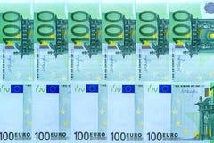 Αφηρημένο υπόβαθρο των χρημάτων από τα τραπεζογραμμάτια 100 ευρώ Στοκ Εικόνα