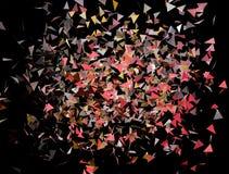 Αφηρημένο υπόβαθρο των χρωματισμένων πετώντας τριγώνων Μαύρη ανασκόπηση στοκ φωτογραφία με δικαίωμα ελεύθερης χρήσης