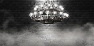 Αφηρημένο, αφηρημένο υπόβαθρο υποβάθρου, καπνός, αιθαλομίχλη Σκοτεινό δωμάτιο άποψης νύχτας, δωμάτιο, διάδρομος με πολύ φως διανυσματική απεικόνιση