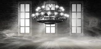 Αφηρημένο, αφηρημένο υπόβαθρο υποβάθρου, καπνός, αιθαλομίχλη Σκοτεινό δωμάτιο άποψης νύχτας, δωμάτιο, διάδρομος με πολύ φως απεικόνιση αποθεμάτων