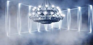 Αφηρημένο, αφηρημένο υπόβαθρο υποβάθρου, καπνός, αιθαλομίχλη Σκοτεινό δωμάτιο άποψης νύχτας, δωμάτιο, διάδρομος με πολύ φως ελεύθερη απεικόνιση δικαιώματος