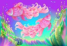 Αφηρημένο υπόβαθρο φαντασίας στο υποβρύχιο περιβάλλον fairyland με το ζεύγος δύο ρόδινων ψαριών διανυσματική απεικόνιση