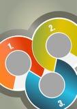 Αφηρημένο υπόβαθρο φυλλάδιων με τρεις χρωματισμένους κύκλους με το num ελεύθερη απεικόνιση δικαιώματος