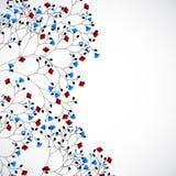 Αφηρημένο υπόβαθρο φύσης με τα κόκκινα και μπλε λουλούδια απεικόνιση αποθεμάτων