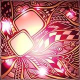 Αφηρημένο υπόβαθρο doodle με το φως στα χρυσά ρόδινα κόκκινα χρώματα Στοκ Εικόνα
