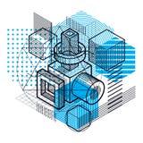 Αφηρημένο υπόβαθρο isometrics, τρισδιάστατο διανυσματικό σχεδιάγραμμα Σύνθεση Στοκ εικόνα με δικαίωμα ελεύθερης χρήσης
