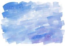 Αφηρημένο υπόβαθρο watercolor με τα κτυπήματα βουρτσών στα μπλε χρώματα Στοκ φωτογραφία με δικαίωμα ελεύθερης χρήσης