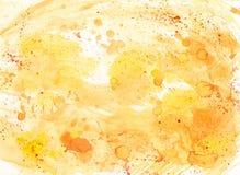 Αφηρημένο υπόβαθρο watercolor με τις πτώσεις στα κίτρινα και πορτοκαλιά χρώματα Στοκ Φωτογραφίες