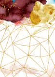 Αφηρημένο υπόβαθρο Watercolor, συρμένο χέρι watercolour burgundy και χρυσή σύσταση στοκ φωτογραφία με δικαίωμα ελεύθερης χρήσης