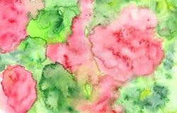 Αφηρημένο υπόβαθρο watercolor grunge στους κόκκινους και πράσινους τόνους στοκ εικόνα