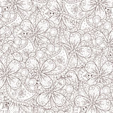 Αφηρημένο υπόβαθρο zentangle με τα λουλούδια και το Paisley Στοκ Εικόνες