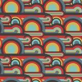 Αφηρημένο υφαντικό άνευ ραφής σχέδιο των ζωηρόχρωμων κύκλων και των γραμμών Στοκ εικόνα με δικαίωμα ελεύθερης χρήσης