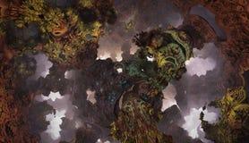 Αφηρημένο φανταστικό αφίσα ή υπόβαθρο Φουτουριστική άποψη από μέσα fractal Στοκ Φωτογραφίες