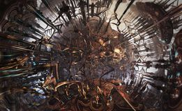 Αφηρημένο φανταστικό αφίσα ή υπόβαθρο Φουτουριστική άποψη από μέσα fractal Σφαίρα που συνδέεται με τους σωλήνες Στοκ φωτογραφίες με δικαίωμα ελεύθερης χρήσης