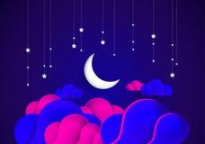 Αφηρημένο φεγγάρι υποβάθρου νύχτας, ουρανός, αστέρια, ζωηρόχρωμα σύννεφα vect απεικόνιση αποθεμάτων
