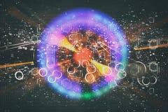 αφηρημένο φουτουριστικό υπόβαθρο επιστημονικής φαντασίας Φλόγα φακών εικόνα έννοιας του ταξιδιού διαστήματος ή χρόνου πέρα από τα Στοκ Εικόνα
