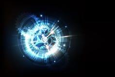 Αφηρημένο φουτουριστικό υπόβαθρο τεχνολογίας με τη μηχανή έννοιας και χρόνου ρολογιών, διάνυσμα διανυσματική απεικόνιση